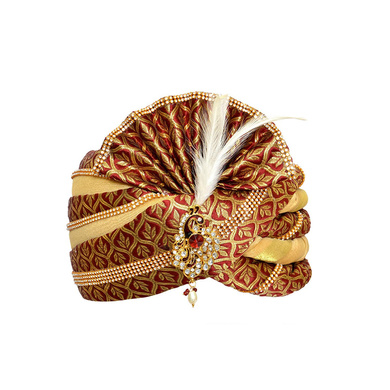 S H A H I T A J Traditional Rajasthani Velvet Red & Golden Wedding Groom or Dulha Pagdi Safa or Turban for Kids and Adults (RT494)-ST614_19andHalf