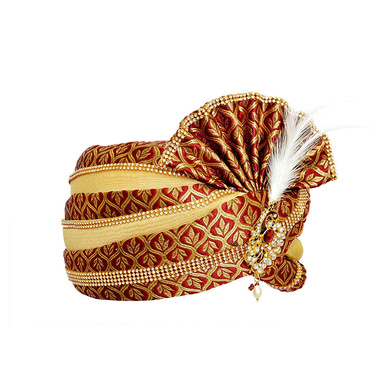 S H A H I T A J Traditional Rajasthani Velvet Red & Golden Wedding Groom or Dulha Pagdi Safa or Turban for Kids and Adults (RT494)-18-3