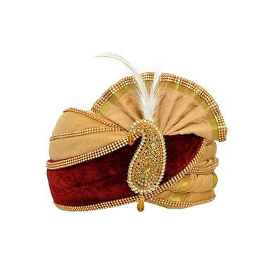 S H A H I T A J Traditional Rajasthani Velvet Red & Golden Wedding Groom or Dulha Pagdi Safa or Turban for Kids and Adults (RT495)-ST615_23andHalf
