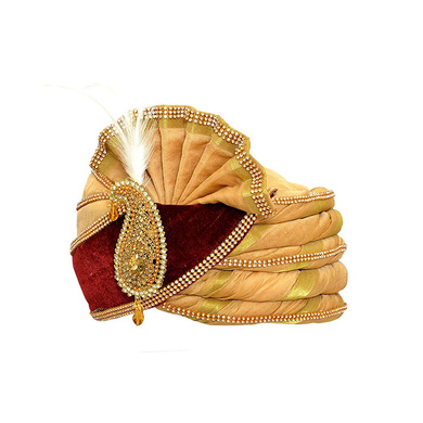 S H A H I T A J Traditional Rajasthani Velvet Red & Golden Wedding Groom or Dulha Pagdi Safa or Turban for Kids and Adults (RT495)-18-4