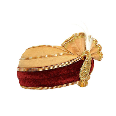 S H A H I T A J Traditional Rajasthani Velvet Red & Golden Wedding Groom or Dulha Pagdi Safa or Turban for Kids and Adults (RT495)-18-3