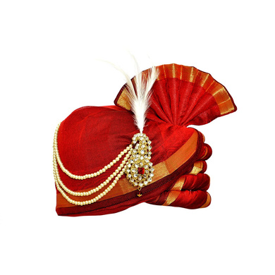 S H A H I T A J Traditional Rajasthani Udaipuri Silk Red & Golden Wedding Groom or Dulha Pagdi Safa or Turban for Kids and Adults (RT496)-ST616_18andHalf