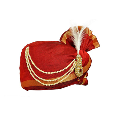 S H A H I T A J Traditional Rajasthani Udaipuri Silk Red & Golden Wedding Groom or Dulha Pagdi Safa or Turban for Kids and Adults (RT496)-18-3