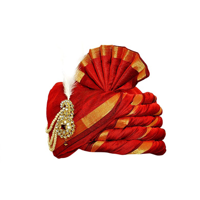 S H A H I T A J Traditional Rajasthani Udaipuri Silk Red & Golden Wedding Groom or Dulha Pagdi Safa or Turban for Kids and Adults (RT496)-18-4