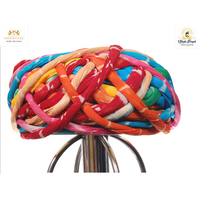 S H A H I T A J Traditional Rajasthani Cotton Multi-Colored Vantma or Rope Pagdi Safa or Turban for Kids and Adults (RT498)-ST618_19andHalf