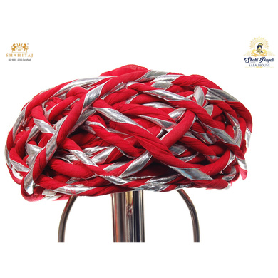 S H A H I T A J Traditional Rajasthani Cotton Red Vantma or Rope Pagdi Safa or Turban with Silver Gota Patti for Kids and Adults (RT501)-ST621_18andHalf