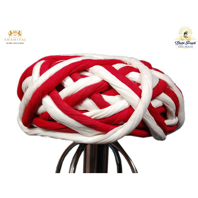 S H A H I T A J Traditional Rajasthani Cotton Red & White Vantma or Rope Pagdi Safa or Turban for Kids and Adults (RT502)-ST622_18andHalf