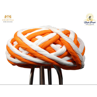 S H A H I T A J Traditional Rajasthani Cotton Orange & White Vantma or Rope Pagdi Safa or Turban for Kids and Adults (RT503)-ST623_21andHalf