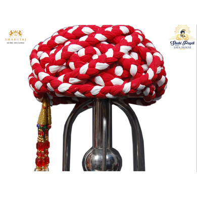 S H A H I T A J Traditional Rajasthani Cotton Red & White Vantma or Rope Pagdi Safa or Turban for Kids and Adults (RT504)-ST624_19andHalf