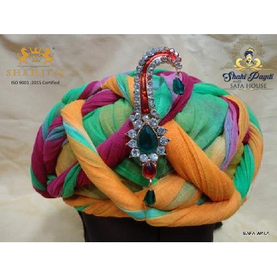 S H A H I T A J Traditional Rajasthani Cotton Multi-Colored Vantma or Rope Pagdi Safa or Turban for Kids and Adults (RT508)-ST628_19andHalf