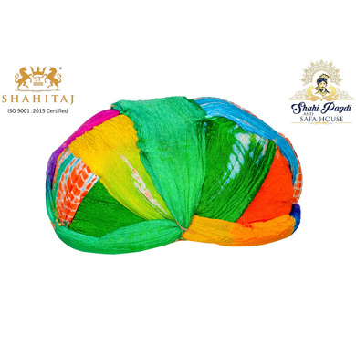 S H A H I T A J Traditional Rajasthani Jaipuri Faux Silk Multi-Colored Gol or Foam Pagdi Safa or Turban for Kids and Adults (RT510)-ST630_21andHalf