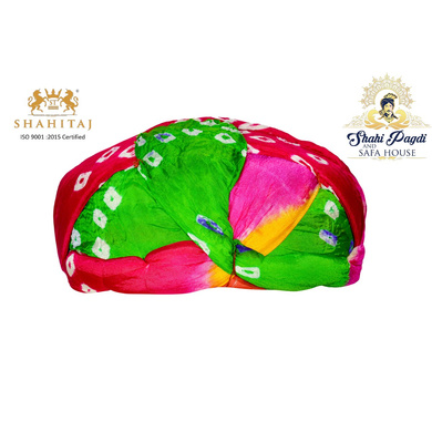 S H A H I T A J Traditional Rajasthani Jaipuri Faux Silk Multi-Colored Gol or Foam Pagdi Safa or Turban for Kids and Adults (RT511)-ST631_22andHalf