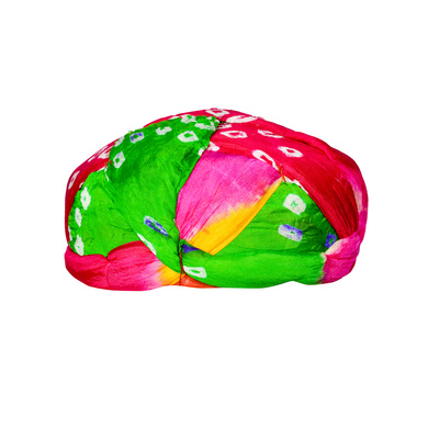 S H A H I T A J Traditional Rajasthani Jaipuri Faux Silk Multi-Colored Gol or Foam Pagdi Safa or Turban for Kids and Adults (RT511)-18-3