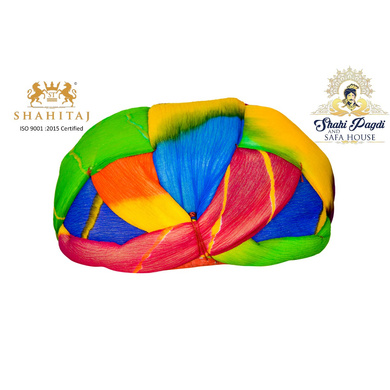 S H A H I T A J Traditional Rajasthani Jaipuri Faux Silk Multi-Colored Gol or Foam Pagdi Safa or Turban for Kids and Adults (RT512)-ST632_19andHalf