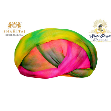 S H A H I T A J Traditional Rajasthani Jaipuri Faux Silk Multi-Colored Gol or Foam Pagdi Safa or Turban for Kids and Adults (RT513)-ST633_18andHalf