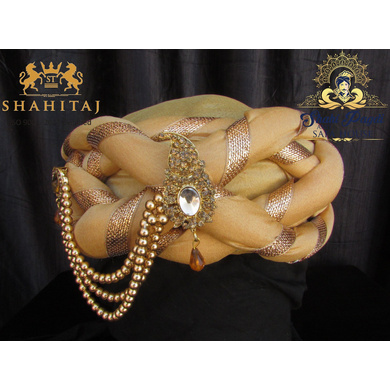S H A H I T A J Traditional Rajasthani Silk Golden Vantma or Barmeri Pagdi Safa or Turban with Brooch for Kids and Adults (RT514)-ST634_22andHalf