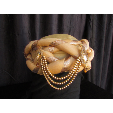 S H A H I T A J Traditional Rajasthani Silk Golden Vantma or Barmeri Pagdi Safa or Turban with Brooch for Kids and Adults (RT514)-18-4