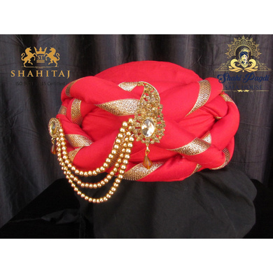 S H A H I T A J Traditional Rajasthani Silk Red Vantma or Barmeri Pagdi Safa or Turban with Brooch for Kids and Adults (RT515)-ST635_22andHalf