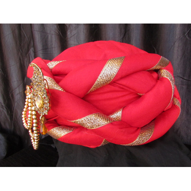 S H A H I T A J Traditional Rajasthani Silk Red Vantma or Barmeri Pagdi Safa or Turban with Brooch for Kids and Adults (RT515)-18-3