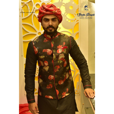 S H A H I T A J Traditional Rajasthani Silk Maroon & Golden Vantma or Rope Pagdi Safa or Turban for Kids and Adults (DT516)-ST636_18andHalf