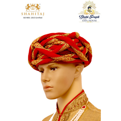 S H A H I T A J Traditional Rajasthani Silk Red & Golden Vantma or Rope Pagdi Safa or Turban for Kids and Adults (RT517)-ST637_21andHalf
