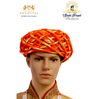 S H A H I T A J Traditional Rajasthani Cotton Orange & Golden Vantma or Rope Pagdi Safa or Turban for Kids and Adults (RT518)-ST638_19andHalf