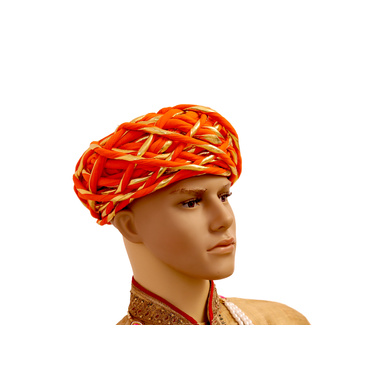 S H A H I T A J Traditional Rajasthani Cotton Orange & Golden Vantma or Rope Pagdi Safa or Turban for Kids and Adults (RT518)-18-3