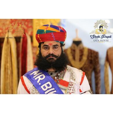 S H A H I T A J Traditional Rajasthani Cotton Multi-Colored Jodhpuri Gol Pheta Pagdi Safa or Turban for Kids and Adults (RT519)-ST639_18andHalf