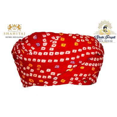 S H A H I T A J Traditional Rajasthani Cotton Red Bandhej Jodhpuri Gol Pheta Pagdi Safa or Turban for Kids and Adults (RT521)-ST641_18andHalf