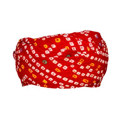 S H A H I T A J Traditional Rajasthani Cotton Red Bandhej Jodhpuri Gol Pheta Pagdi Safa or Turban for Kids and Adults (RT521)-18-4