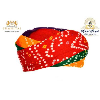 S H A H I T A J Traditional Rajasthani Cotton Multi-Colored Bandhej Jodhpuri Gol Pheta Pagdi Safa or Turban for Kids and Adults (RT522)-ST642_18andHalf