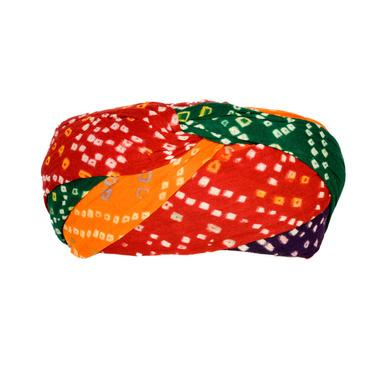 S H A H I T A J Traditional Rajasthani Cotton Multi-Colored Bandhej Jodhpuri Gol Pheta Pagdi Safa or Turban for Kids and Adults (RT522)-18-3