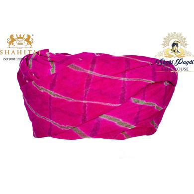 S H A H I T A J Traditional Rajasthani Cotton Pink Lehariya Jodhpuri Gol Pheta Pagdi Safa or Turban for Kids and Adults (RT528)-ST648_19andHalf