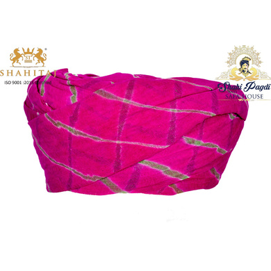 S H A H I T A J Traditional Rajasthani Cotton Pink Lehariya Jodhpuri Gol Pheta Pagdi Safa or Turban for Kids and Adults (RT528)-ST648_20