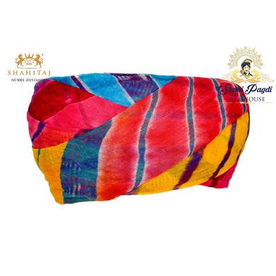 S H A H I T A J Traditional Rajasthani Cotton Multi-Colored Lehariya Jodhpuri Gol Pheta Pagdi Safa or Turban for Kids and Adults (RT529)-ST649_18andHalf