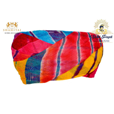 S H A H I T A J Traditional Rajasthani Cotton Multi-Colored Lehariya Jodhpuri Gol Pheta Pagdi Safa or Turban for Kids and Adults (RT529)-ST649_21andHalf