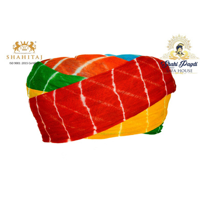 S H A H I T A J Traditional Rajasthani Cotton Multi-Colored Lehariya Jodhpuri Gol Pheta Pagdi Safa or Turban for Kids and Adults (RT530)-ST650_23andHalf