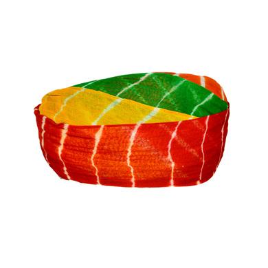 S H A H I T A J Traditional Rajasthani Cotton Multi-Colored Lehariya Jodhpuri Gol Pheta Pagdi Safa or Turban for Kids and Adults (RT530)-18-3