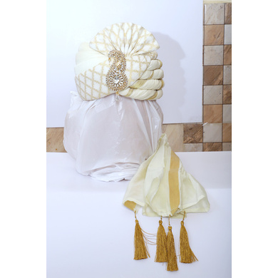 S H A H I T A J Traditional Rajasthani Wedding White & Golden Brocade Pagdi Safa or Turban with Brooch for Groom or Dulha (RT537)-ST660_23andHalf