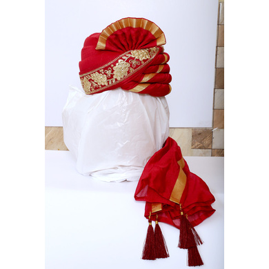 S H A H I T A J Traditional Rajasthani Wedding Red & Golden Silk and Brocade Pagdi Safa or Turban for Groom or Dulha (RT539)-ST662_21andHalf