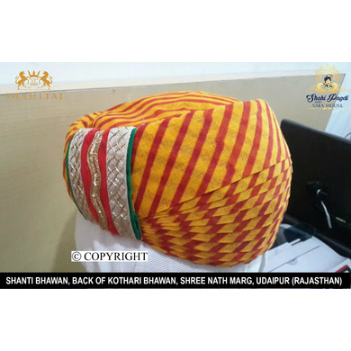 S H A H I T A J Traditional Rajasthani Cotton Mewadi Pagdi or Turban Multi-Colored for Kids and Adults (MT80)-18-3