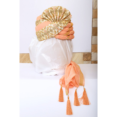S H A H I T A J Traditional Rajasthani Wedding Peach & Golden Brocade Pagdi Safa or Turban for Groom or Dulha (RT540)-ST663_23andHalf