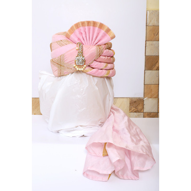 S H A H I T A J Traditional Rajasthani Wedding Pink & Golden Brocade Pagdi Safa or Turban with Brooch for Groom or Dulha (RT541)-ST664_23andHalf