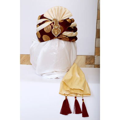 S H A H I T A J Traditional Rajasthani Wedding Maroon & Cream Brocade Pagdi Safa or Turban with Brooch for Groom or Dulha (RT542)-ST665_22andHalf