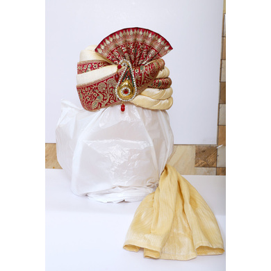 S H A H I T A J Traditional Rajasthani Wedding Red & Cream Brocade Pagdi Safa or Turban with Brooch for Groom or Dulha (RT543)-ST666_23andHalf