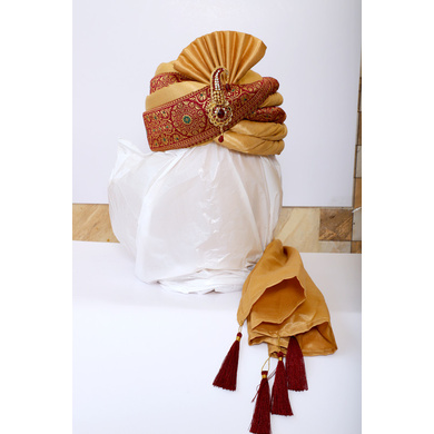S H A H I T A J Traditional Rajasthani Wedding Red & Golden Brocade Pagdi Safa or Turban with Brooch for Groom or Dulha (RT544)-ST667_22andHalf