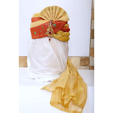 S H A H I T A J Traditional Rajasthani Wedding Red & Golden Brocade Pagdi Safa or Turban with Brooch for Groom or Dulha (RT545)-ST668_23andHalf