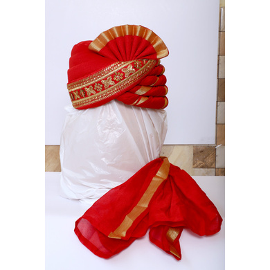 S H A H I T A J Traditional Rajasthani Wedding Red Brocade and Silk Pagdi Safa or Turban for Groom or Dulha (RT546)-ST669_22andHalf