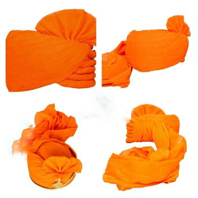 S H A H I T A J Traditional Rajasthani Cotton Orange or Kesariya Wedding Barati Udaipuri Pagdi Safa or Turban for Kids and Adults (RT156)-ST236_18