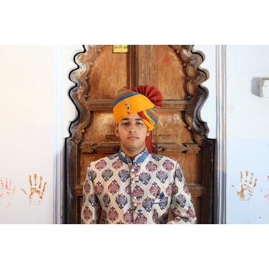 S H A H I T A J Traditional Rajasthani Wedding Barati Zari Cotton Kotadoriya Multi-Colored Jodhpuri & Rajputi Pagdi Safa or Turban with Brooch for Kids and Adults (CT196)-ST276_18